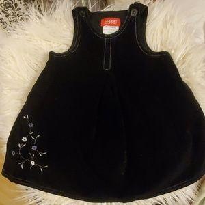 ESPRIT Black Velvet Embroidered Jumper Dress